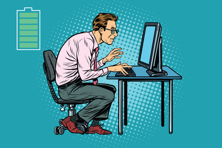 Energy for work, office Caucasian businessman at computer. Pop art retro vector illustration