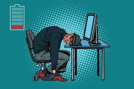 Sleeping africano hacker en la computadora. Pop art retro ilustración vectorial