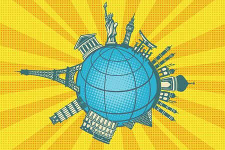 Famous landmarks of the world. Round planet travel. Pop art retro vector illustration Zdjęcie Seryjne