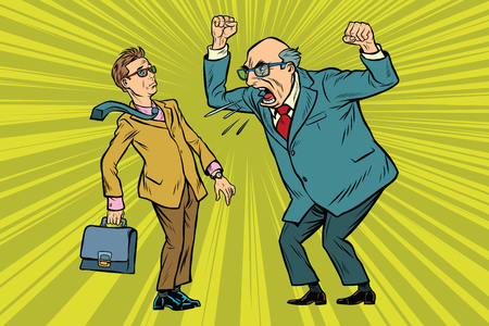 Il capo rimprovera l'uomo d'affari. Conflitti al lavoro. Pop art retrò illustrazione vettoriale Archivio Fotografico - 80259437