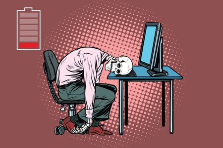 dead businessman skeleton at the computer. Pop art retro vector illustration Stok Fotoğraf
