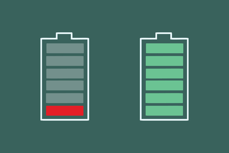 battery charge is small and full. Pop art retro vector illustration