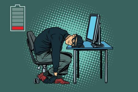 피곤한 해커가 잠 들어 있습니다. 팝 아트 복고풍 벡터 일러스트 레이션