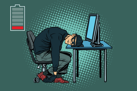 Tired hacker is asleep. Pop art retro vector illustration