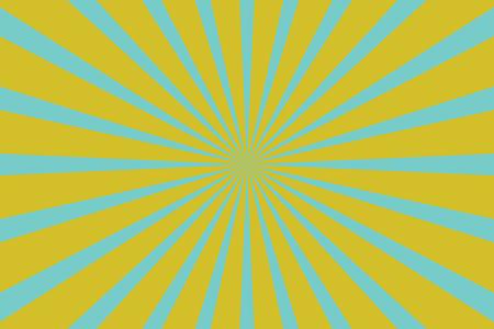 Gele blauwe pop art achtergrond met stralen. retro vector illustratie