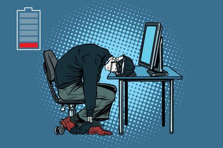 コンピューターで死んでいるハッカーのスケルトン。ポップアートのレトロなベクトル図 写真素材