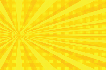 gele stralen pop-art achtergrond. retro vectorillustratie Stockfoto