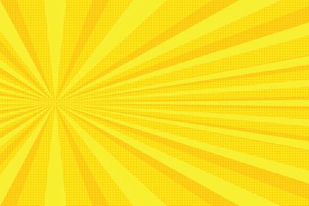 yellow rays pop art background. retro vector illustration Stock Photo
