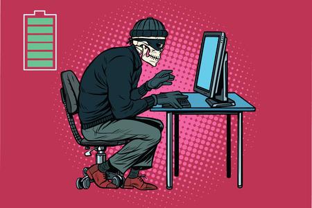死んでスケルトン ハッカー ハッキングされたコンピューター。ポップアートのレトロなベクトル図 写真素材