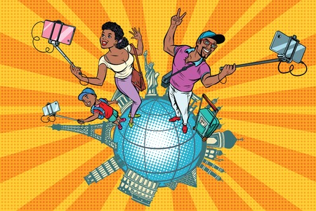 African American Family tourists and selfie, a trip around the world. Pop art retro vector illustration