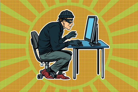 sneak: hacker sitting at the computer. Pop art retro vector illustration