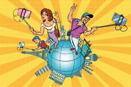 家族観光客や selfie、世界旅行。ポップアートのレトロなベクトル図