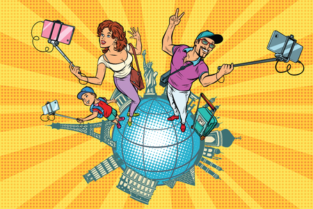 Family tourists and selfie, a trip around the world. Pop art retro vector illustration 일러스트