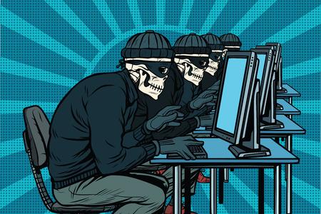La comunidad hacker, los esqueletos piratearon las computadoras. Ilustración de vector retro pop art Foto de archivo - 80500993