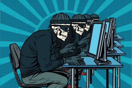 The hacker community, skeletons hacked computers. Pop art retro vector illustration Banco de Imagens - 80500993
