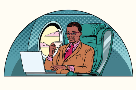 Businessman working in the business class cabin. African American people. Aviation and travel. Pop art retro illustration