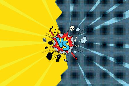 Versus comic pop art retro  illustration Vettoriali