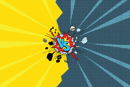 Versus comic pop art retro  illustration Çizim