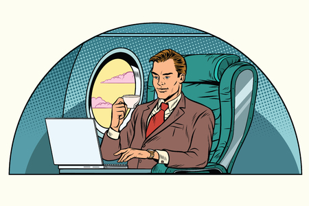 비즈니스 클래스 오두막에서 작업하는 사업가. 항공 및 여행. 팝 아트 복고 일러스트 레이션