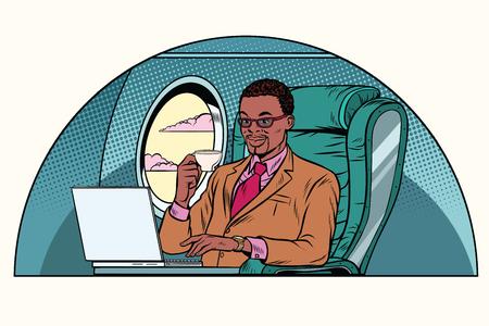zakenman die werkt in de business class-hut. Afro-Amerikaanse mensen. Luchtvaart en reizen. Pop art retro vectorillustratie
