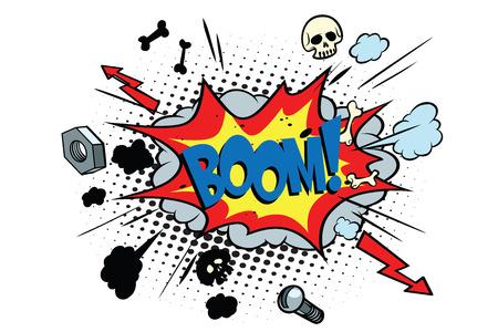 boom comic pop art bubble. retro vector illustration Stock Photo