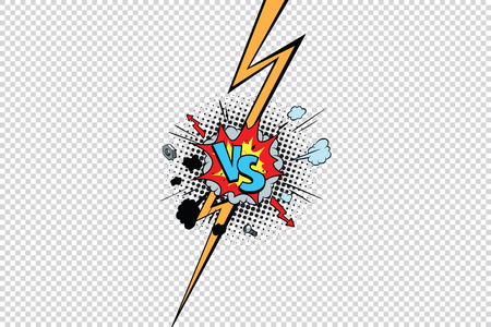 vs against versus isolate pop art background. Pop art retro vector illustration