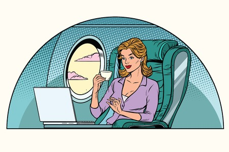 Businesswoman in business class of the aircraft works at a laptop and drinking coffee. Pop art retro vector illustration Stock Illustratie