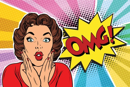 Mujer triguena del arte pop de OMG. Pop art retro ilustración vectorial