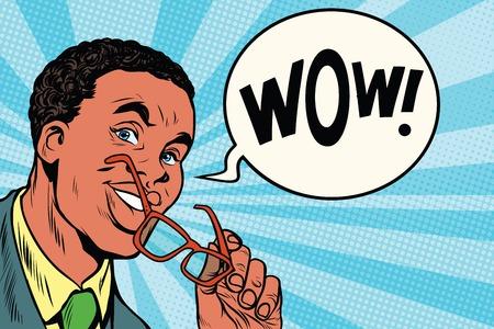 Wow intelligente Afrikaanse zakenman met een bril. Afro-Amerikaanse mensen. Pop art retro vectorillustratie Vector Illustratie