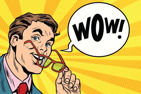 wow un homme d & # 39 ; affaires intelligente avec des lunettes pop art rétro illustration vectorielle
