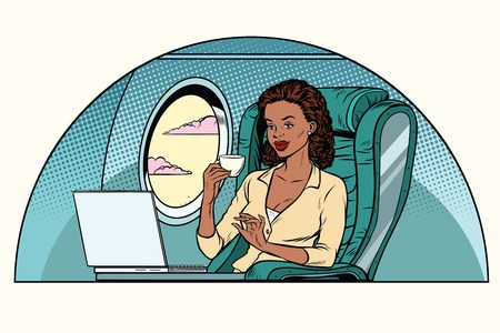 Businesswoman in business class of the aircraft works at a laptop and drinking coffee. African American people. Pop art retro vector illustration