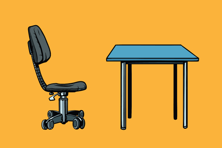 working place: Office chair and table. Pop art retro vector illustration Illustration