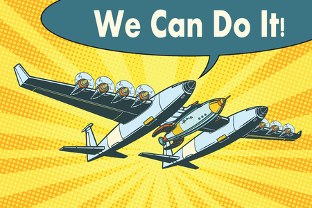 Airplane to send rockets into space. we can do it. Pop art retro vector illustration Banco de Imagens - 80906840