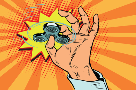 fidget spinner hand rotation. Pop art retro vector illustration