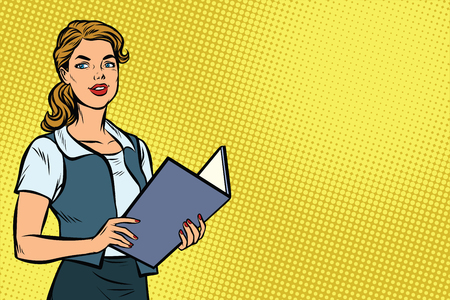 Female Secretary. Business woman. Copy space background. Pop art retro vector illustration