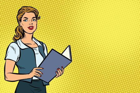 Vrouwelijke secretaris. Zakenvrouw. Ruimte achtergrond kopiëren. Pop art retro vectorillustratie