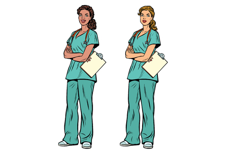 African American and Caucasian nurse with stethoscope. Medycyna i opieka zdrowotna. Ilustracja wektorowa retro pop-artu