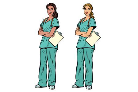 Enfermera afroamericana y caucásica con estetoscopio. Medicina y cuidado de la salud. Ilustración de vector retro pop art