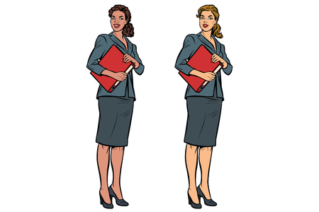 Two female accountant African American and Caucasian. Business woman. Pop art retro vector illustration Vettoriali