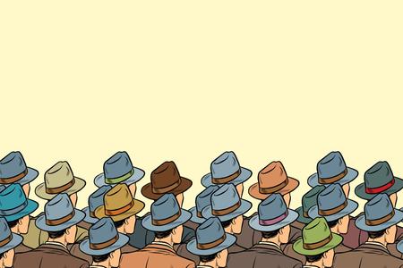 The audience background, men standing back. Pop art retro vector illustration Vettoriali