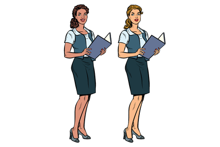 Two women Secretary-full-length, multi-ethnic group. African American and Caucasian people. Businesswoman. Pop art retro vector illustration. Isolated white background Illustration