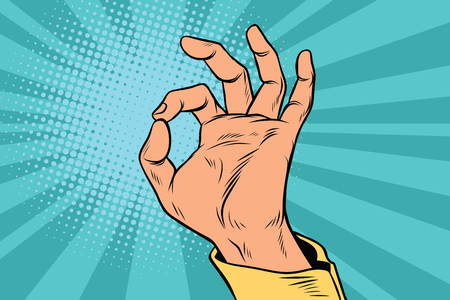 OK gesture signal man hand okay. Pop art retro vector illustration