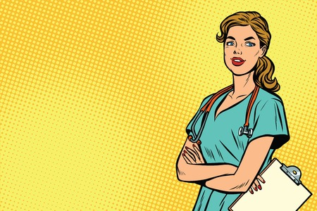 Beautiful Caucasian nurse with stethoscope. Medicine and health care. Pop art retro vector illustration Reklamní fotografie - 81041414