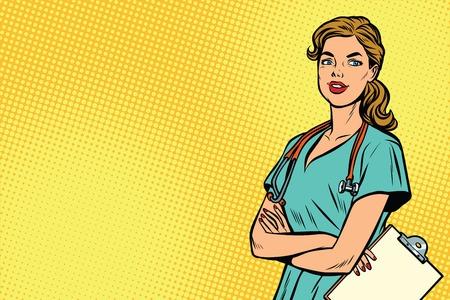 Piękna Kaukaska pielęgniarka z stetoskopem. Medycyna i opieka zdrowotna. Ilustracja wektorowa retro pop-artu