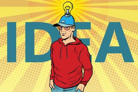 idea man, casual clothes. Pop art retro vector illustration