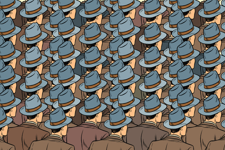 background crowd of the same men, stand back. Pop art retro vector illustration Vettoriali
