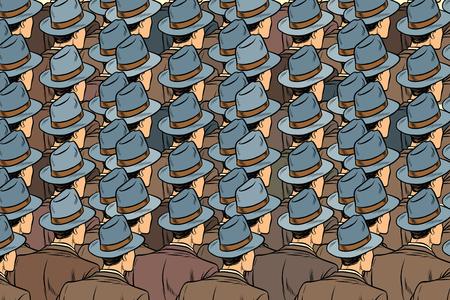 background crowd of the same men, stand back. Pop art retro vector illustration Illustration