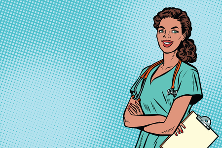 Beautiful African American nurse with stethoscope. Medicine and health care. Pop art retro vector illustration