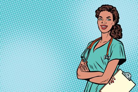 Piękna amerykanin afrykańskiego pochodzenia pielęgniarka z stetoskopem. Medycyna i opieka zdrowotna. Ilustracja wektorowa retro pop-artu Ilustracje wektorowe