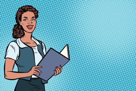 Vrouwelijke secretaris, Afro-Amerikaanse mensen. Zakenvrouw. Ruimte achtergrond kopiëren. Pop art retro vectorillustratie